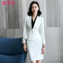 Professional dress suit Spring of 2018 Long sleeves Shirt coat other styles Suit skirt 25-35 years old Ice cloud Polyester fiber 53.7% viscose fiber (viscose fiber) 43.3% polyurethane elastic fiber (spandex) 3% Pure e-commerce (online only) 51% (inclusive) - 70% (inclusive)