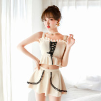 Split swimsuit Jieshu Qizi Off white black Skirt split swimsuit With chest pad without steel support Spandex polyester Summer of 2019 yes One word collar Sleeveless