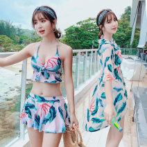 Split swimsuit Jieshu Qizi Skirt split swimsuit Steel strap breast pad Spandex polyester Winter 2020 yes female V-neck Sleeveless