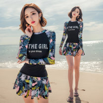 Split swimsuit New Liya Skirt split swimsuit With chest pad without steel support Spandex polyester Summer of 2019 yes female High collar Long sleeves