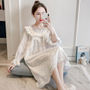 Nightdress Other / other white Average size Sweet Long sleeves Leisure home Middle-skirt autumn Solid color youth Crew neck cotton Embroidery More than 95% pure cotton 220g