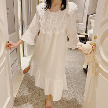 Nightdress Other / other white 160(M),165(L),170(XL) Sweet Long sleeves Leisure home longuette spring Solid color youth Crew neck cotton lace More than 95% pure cotton 240g