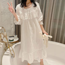 Nightdress Other / other white 155(S),160(M),165(L),170(XL) Sweet Long sleeves Leisure home longuette spring Solid color youth square neck cotton lace More than 95% pure cotton 240g