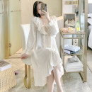 Nightdress Other / other White nightdress, apricot nightdress, green nightdress, white suit, apricot suit, green suit 155(S),160(M),165(L),170(XL) Sweet Long sleeves Leisure home Middle-skirt autumn Solid color youth V-neck cotton lace More than 95% pure cotton 240g