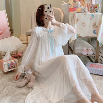 Nightdress Other / other White, blue 155(S),160(M),165(L),170(XL) Sweet Long sleeves Leisure home longuette autumn Solid color youth Crew neck cotton lace More than 95% Mesh fabric Annie 260g