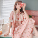 Nightdress Other / other Sky blue, pink Average size Sweet Short sleeve Leisure home Middle-skirt summer other youth square neck cotton lace More than 95% pure cotton 240g