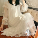 Nightdress Other / other White, light blue, purple pink, milk tea S,M,L Sweet Long sleeves Leisure home Middle-skirt autumn Solid color youth Crew neck Polyester (polyester) lace More than 95% Modal gauze 200g