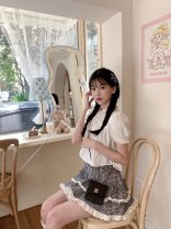 skirt Summer 2021 S, M Black and white Short skirt Sweet High waist Fluffy skirt lattice Type A 18-24 years old More than 95% other Other / other polyester fiber Fungus, lace princess