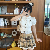 shirt Plaid pleated skirt, plaid pleated skirt for 7 working days S,M,L Summer 2020 cotton 51% (inclusive) - 70% (inclusive) Short sleeve Sweet Short style (40cm < length ≤ 50cm) Single row multi button Solid color 18-24 years old Self cultivation Other / other TW0725 Lace, fungus, button