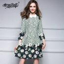 Dress Fall 2017 Decor (in stock) S M L XL XXL Short skirt singleton  three quarter sleeve commute Polo collar middle-waisted Decor Socket Big swing puff sleeve 30-34 years old Ink and wash Ol style Zipper printing W043 More than 95% polyester fiber Polyester 100% Pure e-commerce (online only)