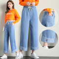 Jeans Summer 2020 blue S,M,L,XL,2XL Ninth pants High waist Wide legged trousers Thin money Under 17 Old, washed Thin denim light colour