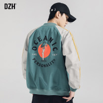 Jacket DZH Youth fashion Black green black [cotton thickening] green [cotton thickening] M L XL 2XL 3XL 4XL routine easy Other leisure Four seasons X909-JK918 Polyester 100% Long sleeves Wear out Baseball collar tide youth routine Zipper placket Rib hem washing Closing sleeve stripe Autumn 2020 other