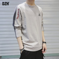 T-shirt Youth fashion Apricot black white routine M L XL 2XL 3XL DZH Long sleeves Crew neck standard Other leisure spring Cotton 100% youth raglan sleeve tide other Spring of 2019 Alphanumeric Embroidery cotton other No iron treatment Fashion brand Pure e-commerce (online only) More than 95%