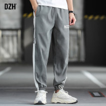 Casual pants DZH Youth fashion Black blue grey M L XL 2XL 3XL routine trousers Other leisure easy No bullet Four seasons youth tide 2020 middle-waisted Little feet Polyester 94% polyamide 6% Haren pants Hem at hem washing Alphanumeric other other Spring 2020 Pure e-commerce (online only)