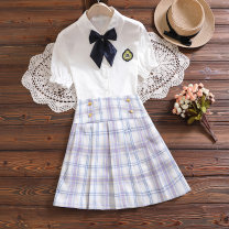 suit Children's flag Pink Blue Purple 130cm 140cm 150cm 160cm 170cm female summer college Short sleeve + skirt 2 pieces routine No model Single breasted nothing lattice cotton children Learning reward TQ70145 Class B Cotton 95% polyurethane elastic fiber (spandex) 5% Summer 2021 Chinese Mainland