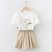 suit Children's flag white 130cm 140cm 150cm 160cm 170cm female summer Sweet Short sleeve + skirt 2 pieces Thin money No model Socket nothing heart-shaped cotton children Learning reward TQ70168 Class B Cotton 95% polyurethane elastic fiber (spandex) 5% Summer 2021 Chinese Mainland Guangdong Province