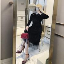 Dress Autumn 2020 black S,M,L,XL Mid length dress singleton  Long sleeves commute Doll Collar High waist Solid color zipper A-line skirt pagoda sleeve Others Type X Retro Stitching, stereo decoration, zipper velvet