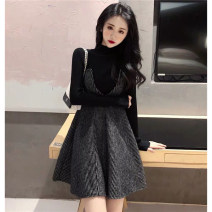 Dress Autumn of 2019 Jacket + suspender skirt, collection and shopping cart to give small gifts S,M,L,XL Short skirt Two piece set Long sleeves commute Half high collar High waist Solid color Socket A-line skirt routine camisole Type A Retro knitting