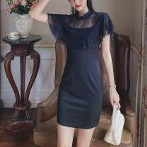 Dress Summer 2020 black S,M,L,XL Middle-skirt singleton  Short sleeve commute Half high collar High waist Solid color zipper Pencil skirt Lotus leaf sleeve Others T-type Korean version Stitching, zipper, lace Polyester + Lace