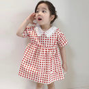 Dress red-checkered pattern female Other / other 7(90cm),9(100cm),11(110cm),13(120cm),15(130cm) Other 100% summer Short sleeve other other F6586 2 years old, 3 years old, 4 years old, 5 years old, 6 years old Chinese Mainland