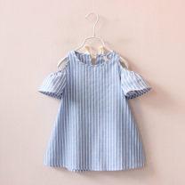 Dress Blue and white stripes female Other / other 7,9,11,13,15 Other 100% summer Korean version Skirt / vest stripe other A-line skirt F0157 2 years old, 3 years old, 4 years old, 5 years old, 6 years old