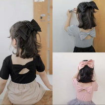 T-shirt Black, grey, pink Other / other 7(90cm),9(100cm),11(110cm),13(120cm),15(130cm) female summer Short sleeve Crew neck Korean version nothing other Solid color F7104 2 years old, 3 years old, 4 years old, 5 years old, 6 years old