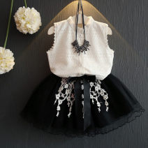 suit Other / other black 7(90cm),9(100cm),11(110cm),13(120cm),15(130cm) female summer Korean version Sleeveless + skirt 2 pieces Thin money Single breasted nothing Solid color children Expression of love F1098 other 2 years old, 3 years old, 4 years old, 5 years old, 6 years old