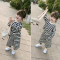suit Other / other stripe 7(90cm),9(100cm),11(110cm),13(120cm),15(130cm) spring and autumn Korean version Long sleeve + pants 2 pieces routine There are models in the real shooting nothing stripe children Expression of love F6892 2 years old, 3 years old, 4 years old, 5 years old, 6 years old
