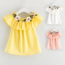 Dress Pink white yellow Other / other female 7(90cm) 9(100cm) 11(110cm) 13(120cm) 15(130cm) Other 100% summer Korean version Skirt / vest F0931