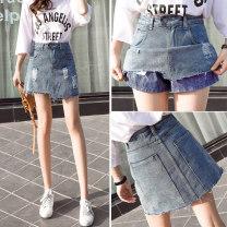skirt Spring 2021 S,M,L,XL,2XL Black, blue Short skirt commute High waist A-line skirt Solid color Type A 18-24 years old *8520 81% (inclusive) - 90% (inclusive) Denim Fringes, holes Korean version