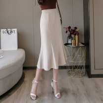 skirt Spring 2021 S,M,L,XL Apricot, blue, black Mid length dress Versatile High waist skirt Solid color Type A 18-24 years old //qm 71% (inclusive) - 80% (inclusive) other Other / other other Ruffle, zipper, stitching