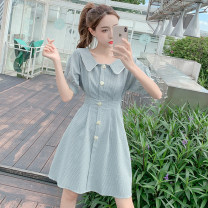 Dress Summer 2021 Green, yellow, pink S,M,L,XL Middle-skirt singleton  Short sleeve commute Doll Collar High waist lattice Single breasted A-line skirt puff sleeve Others 18-24 years old Type A Korean version ///8520 71% (inclusive) - 80% (inclusive)
