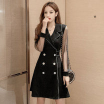 Dress Spring 2021 Black (with sequins on the sleeve), picture color S,M,L,XL,2XL Middle-skirt singleton  Long sleeves commute V-neck High waist Solid color double-breasted A-line skirt routine Others 18-24 years old Type A Korean version /WX 51% (inclusive) - 70% (inclusive)