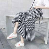 skirt Spring 2021 Average size Mid length dress commute High waist Ruffle Skirt lattice Type A 18-24 years old ///xn Korean version