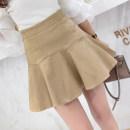 skirt Summer 2021 S,M,L,XL Black, white, khaki, caramel Short skirt commute High waist A-line skirt Solid color Type A 18-24 years old other zipper Korean version