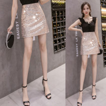 skirt Summer 2021 S,M,L,XL Black, gold, white Short skirt commute High waist A-line skirt Solid color Type A 18-24 years old ///qm+ 71% (inclusive) - 80% (inclusive) Other / other Sequins Korean version