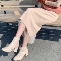 skirt Spring 2021 Average size Black, apricot longuette commute High waist skirt Type A 18-24 years old cr// 71% (inclusive) - 80% (inclusive) knitting Other / other cotton Korean version