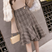 skirt Spring 2021 S,M,L,XL Picture color Mid length dress commute High waist Irregular lattice Type A 18-24 years old ///WX 51% (inclusive) - 70% (inclusive) Wool other Ruffle, three-dimensional decoration, zipper Korean version