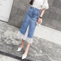 skirt Spring 2021 S,M,L,XL,2XL blue longuette commute High waist Denim skirt Dot Type A 18-24 years old 71% (inclusive) - 80% (inclusive) Denim cotton Splicing Korean version