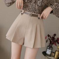 Casual pants Black, khaki, apricot 9913, grey 9913 S,M,L,XL Spring 2021 shorts Wide leg pants High waist commute routine 18-24 years old 71% (inclusive) - 80% (inclusive) 429/qm@* Cotton blended fabric Korean version belt