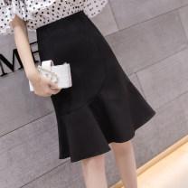 skirt Summer 2021 S,M,L,XL,2XL Black, apricot Mid length dress commute High waist Ruffle Skirt Solid color Type A 18-24 years old 81% (inclusive) - 90% (inclusive) polyester fiber Ruffle, fold, asymmetry, zipper Korean version