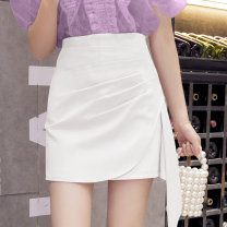 skirt Summer 2021 S,M,L,XL White, black Short skirt commute High waist Irregular Solid color Type A 18-24 years old ///WX 71% (inclusive) - 80% (inclusive) other Korean version