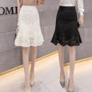 skirt Spring 2021 S,M,L,XL,2XL Apricot, black, apricot 9776, black 9776 Mid length dress Versatile High waist Ruffle Skirt Solid color Type A 18-24 years old ///8520 81% (inclusive) - 90% (inclusive) Lace Ruffles, lace
