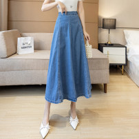 skirt Spring 2021 S,M,L,XL,2XL wathet Mid length dress commute High waist A-line skirt Solid color Type A 25-29 years old ///WX 71% (inclusive) - 80% (inclusive) Denim cotton Korean version