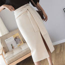 skirt Summer 2021 S,M,L,XL Black, apricot Mid length dress commute High waist Irregular Solid color Type A 18-24 years old //8520 other other Lace up, asymmetrical Korean version