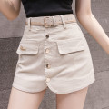 skirt Summer 2021 S,M,L,XL,2XL Apricot, black Short skirt commute High waist skirt Solid color Type A 18-24 years old 81% (inclusive) - 90% (inclusive) Denim Other / other cotton Retro