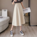 skirt Summer 2021 S,M,L,XL,2XL Black, apricot, bean green Mid length dress commute High waist Umbrella skirt Solid color Type A 18-24 years old //xn 71% (inclusive) - 80% (inclusive) other other Pleated, zipper Korean version