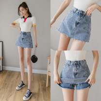 skirt Summer 2021 S,M,L,XL,2XL Black, blue High waist 18-24 years old ///xn 71% (inclusive) - 80% (inclusive)
