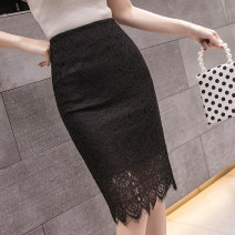 skirt Summer 2021 S,M,L,XL,2XL Apricot, black Mid length dress commute High waist A-line skirt Type A 18-24 years old 39yj More than 95% Lace Zipper, lace Korean version