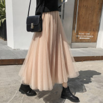 skirt Winter 2020 S,M,L,XL Brown, apricot, grey, black, pink Mid length dress commute High waist Fairy Dress Solid color Type A 18-24 years old 71% (inclusive) - 80% (inclusive) Korean version